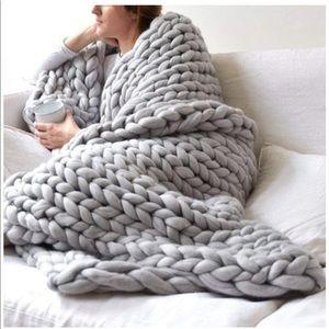 Chunky Handmade Knit Bulky Wool Throw